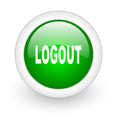logout green circle glossy web icon on white background  photo