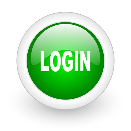 login green circle glossy web icon on white background