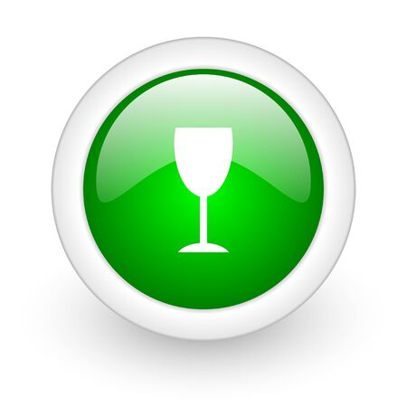 champain: glass green circle glossy web icon on white background
