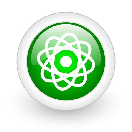 atom green circle glossy web icon on white background