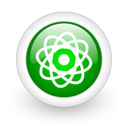 atom green circle glossy web icon on white background Stock Photo - 17865392