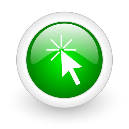 click here green circle glossy web icon on white background Stock Photo - 17865142