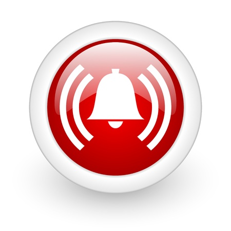safe and sound: alarm red circle glossy web icon on white background  Stock Photo