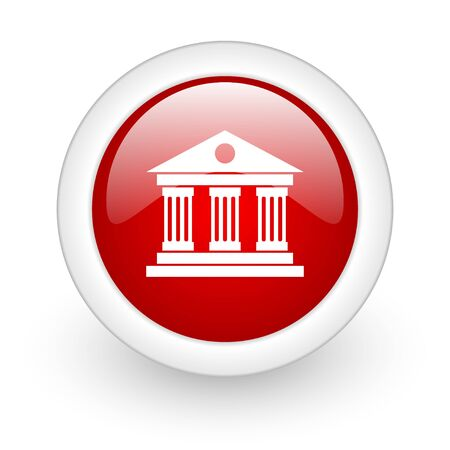 museum red circle glossy web icon on white background  photo