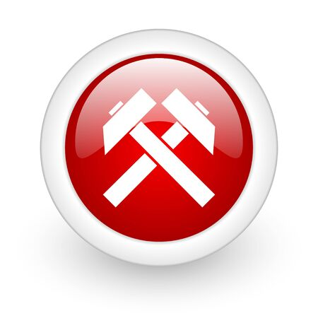 mining red circle glossy web icon on white background Stock Photo - 17979994