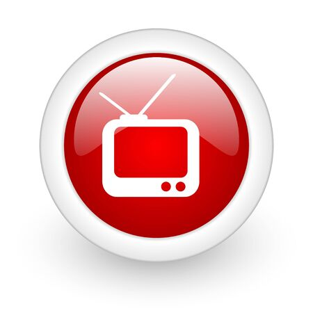 tv red circle glossy web icon on white background Stock Photo - 17977789