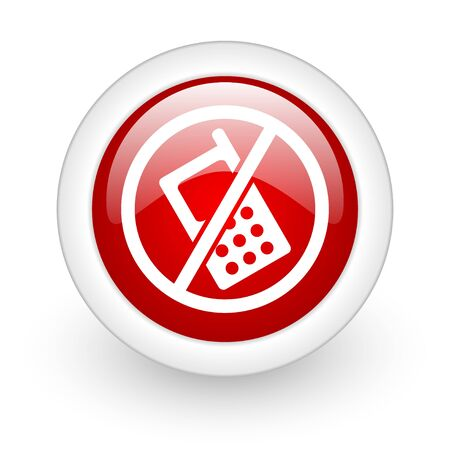 no phones red circle glossy web icon on white background