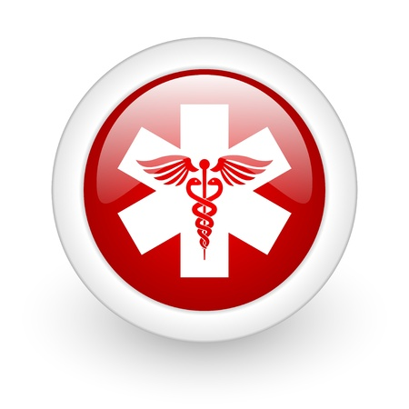 caduceus red circle glossy web icon on white background  photo