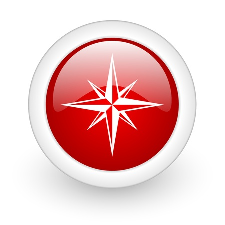 compass red circle glossy web icon on white background Stock Photo - 17980423