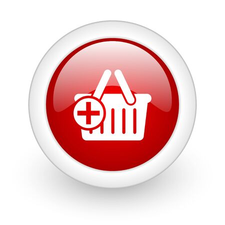 shopping cart red circle glossy web icon on white background Stock Photo - 17979911