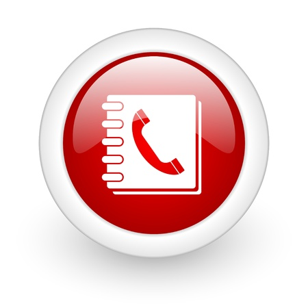 phonebook red circle glossy web icon on white background