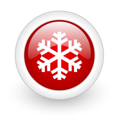 snowflake red circle glossy web icon on white background