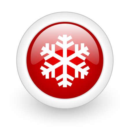 snowflake red circle glossy web icon on white background Stock Photo - 17980308