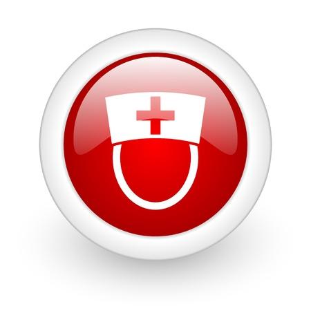 nurse red circle glossy web icon on white background  photo