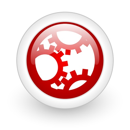 gears red circle glossy web icon on white background  photo