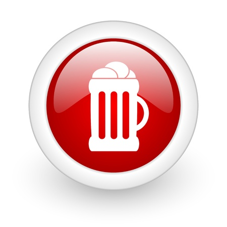 beer red circle glossy web icon on white background  photo