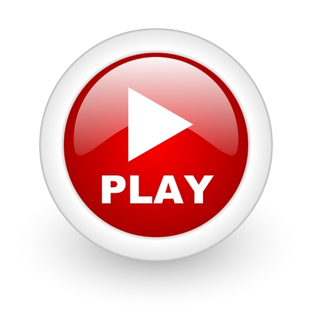 play red circle glossy web icon on white background Stock Photo - 17977885