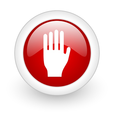 stop red circle glossy web icon on white background