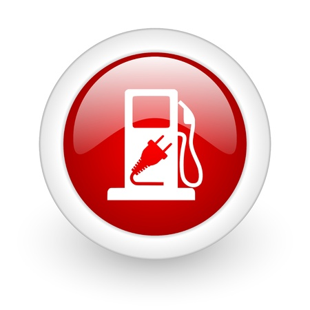 fuel red circle glossy web icon on white background