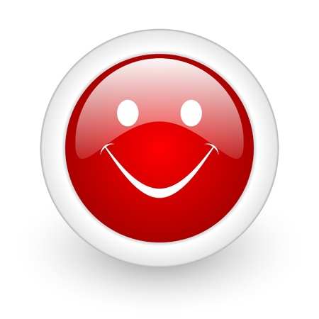 smile red circle glossy web icon on white background