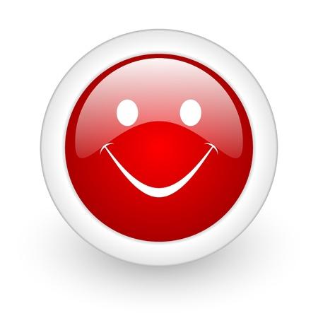 smile red circle glossy web icon on white background Stock Photo - 17978096