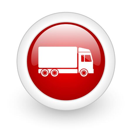 delivery red circle glossy web icon on white background Stock Photo - 17979792