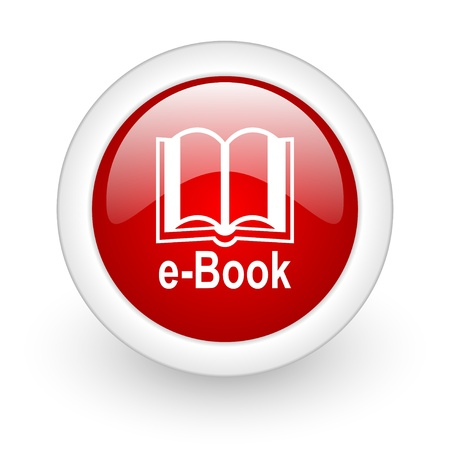 e-book red circle glossy web icon on white background