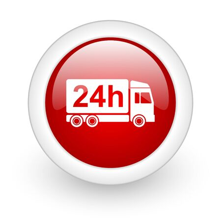delivery 24h red circle glossy web icon on white background  photo