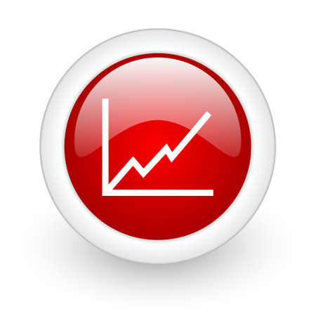 chart red circle glossy web icon on white background Stock Photo - 17979561