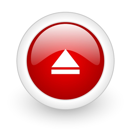 eject red circle glossy web icon on white background Stock Photo - 17977639