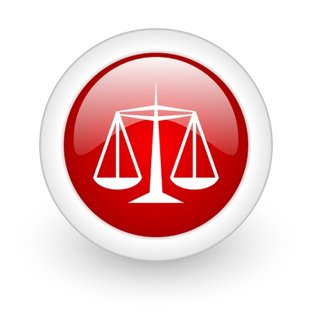 justice red circle glossy web icon on white background Stock Photo - 17980402