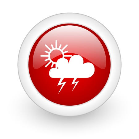 weather forecast red circle glossy web icon on white background  photo