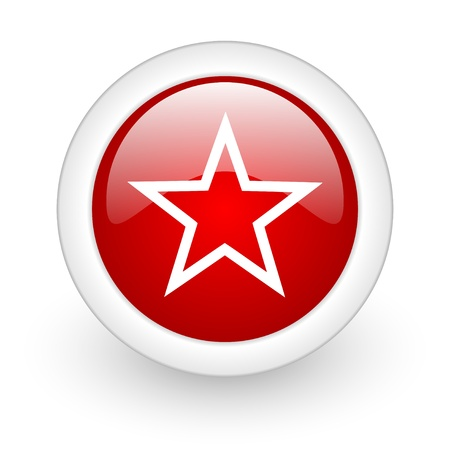star red circle glossy web icon on white background Stock Photo - 17979958