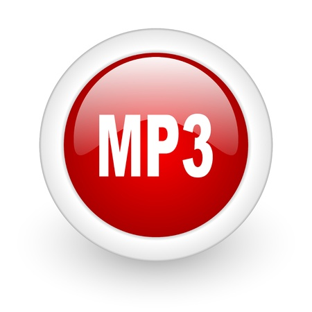 mp3 red circle glossy web icon on white background  photo