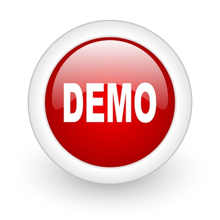 demo red circle glossy web icon on white background  photo