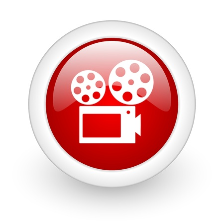 cinema red circle glossy web icon on white background  photo
