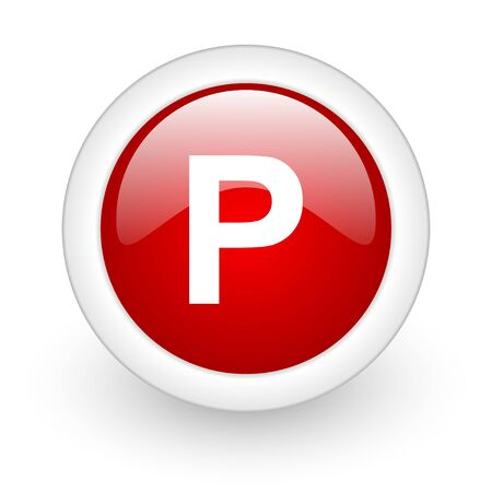 park red circle glossy web icon on white background