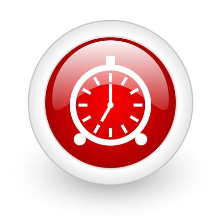 alarm clock red circle glossy web icon on white background  photo