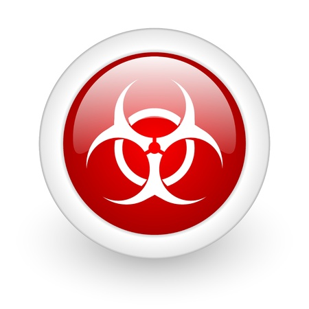 bacterioa: virus red circle glossy web icon on white background