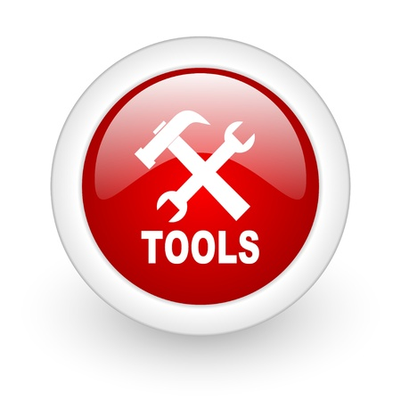 tools red circle glossy web icon on white background   photo