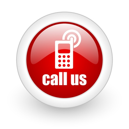 call us red circle glossy web icon on white background Stock Photo - 17980260