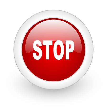 stop red circle glossy web icon on white background Stock Photo - 17977935