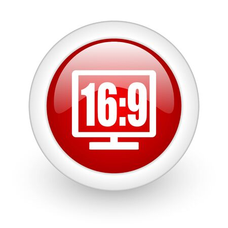 16 9 display red circle glossy web icon on white background  photo