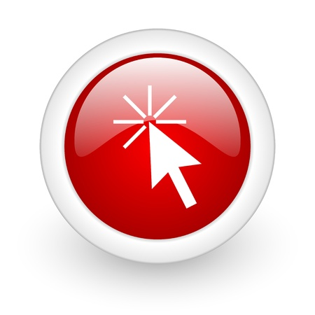 click here red circle glossy web icon on white background Stock Photo - 17978105