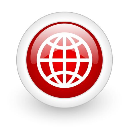 earth red circle glossy web icon on white background  photo