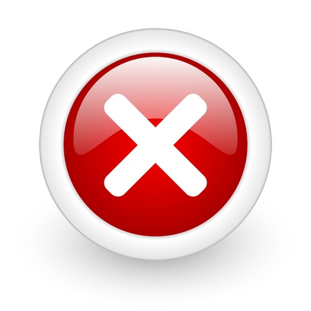 cancel red circle glossy web icon on white background Stock Photo - 17977775