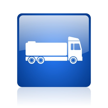 truck blue square glossy web icon on white background  photo