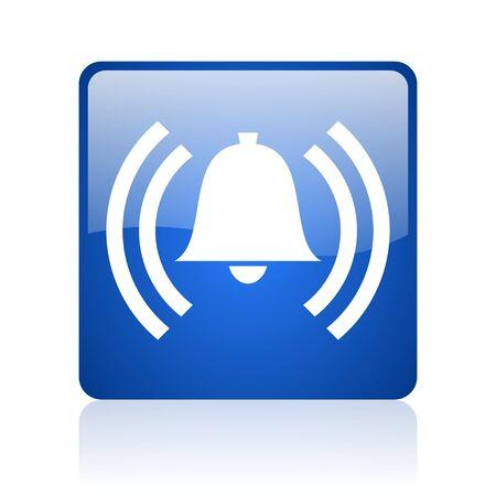 alarm blue square glossy web icon on white background  photo
