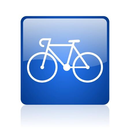 bicycle blue square glossy web icon on white background  photo