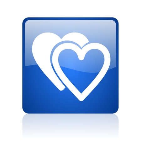 love blue square glossy web icon on white background